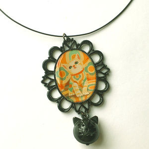 Jewelry - Psychadelic kitty pendant necklace with bell